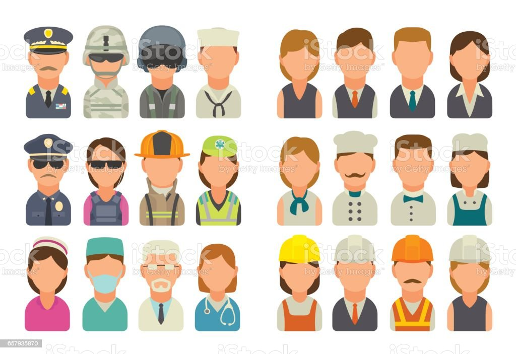 Set icon character cook, builder, business and medical people. vector art illustration