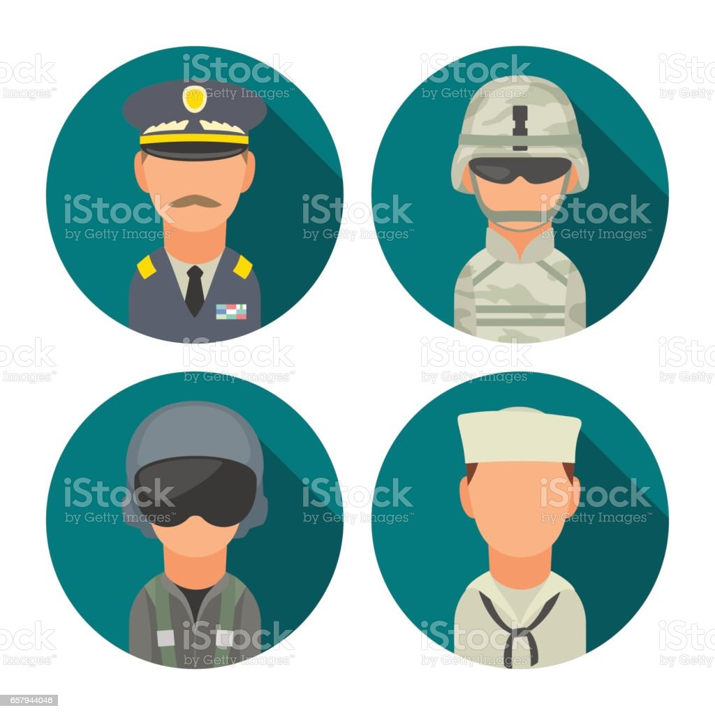 Set icon character military people. Soldier, officer, pilot, marine, sailor vector art illustration