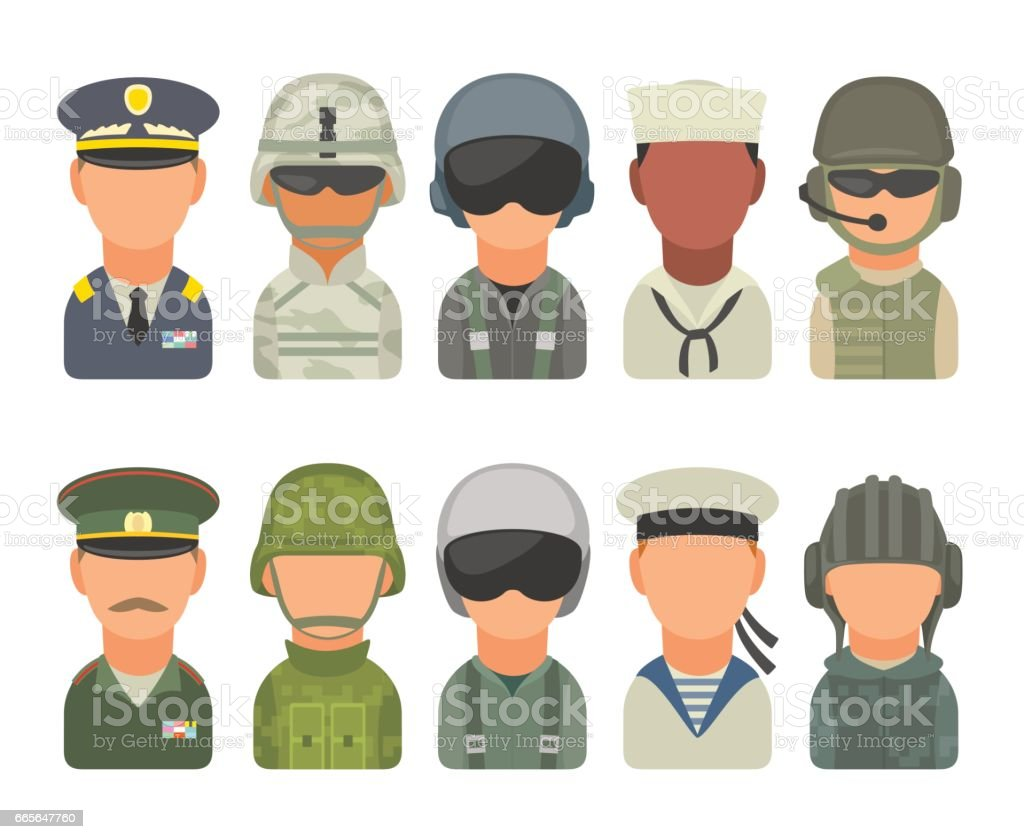 Set icon character military people. Soldier, officer, pilot, marine, sailor, trooper vector art illustration