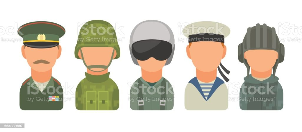 Set icon character russian military people. Soldier, officer, pilot, marine, trooper, sailor vector art illustration