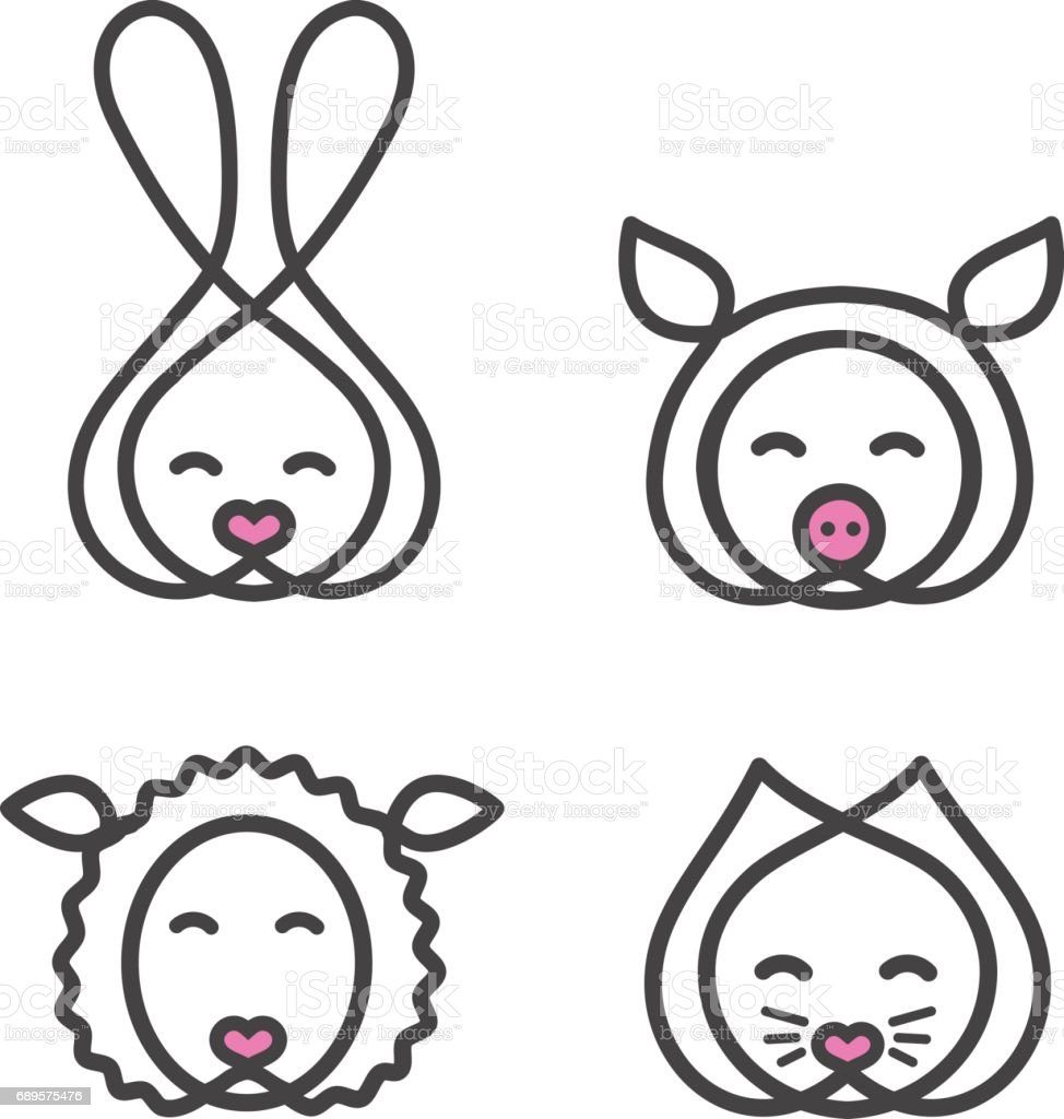 set icon design template with animal head cute rabbit cat sheep