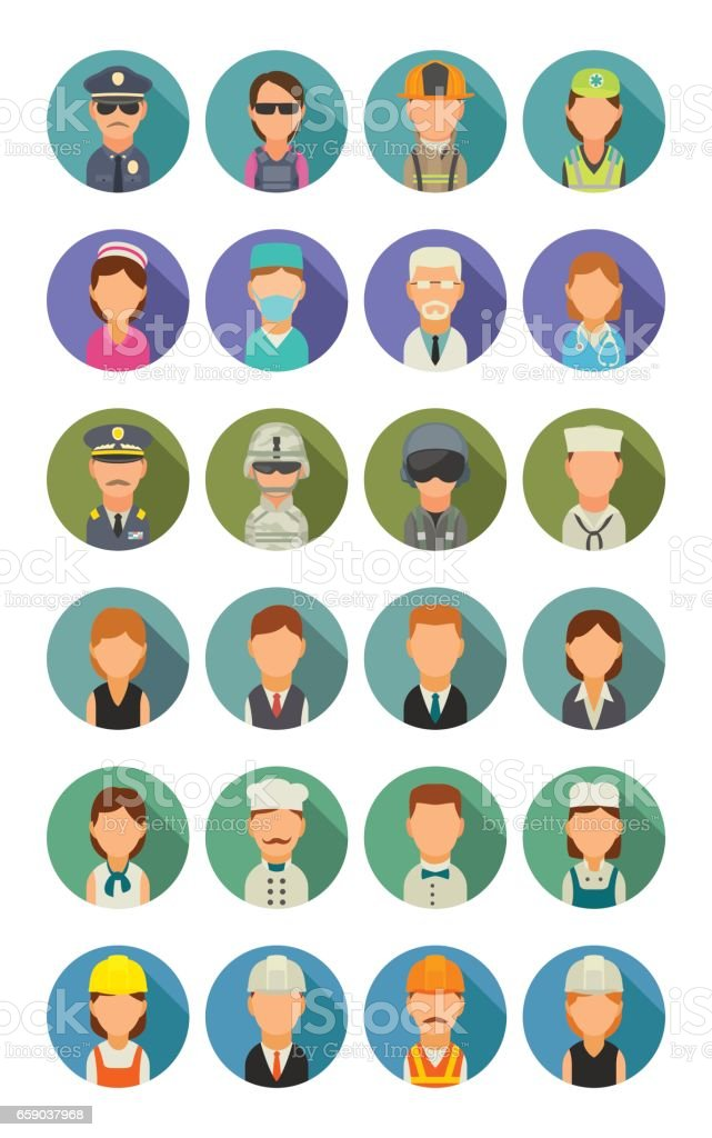 Set icon different professions. Character cook, builder, business, army and medical people. vector art illustration