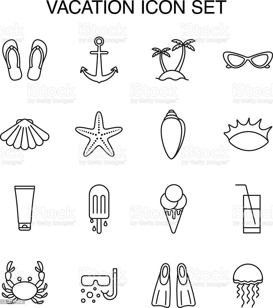 Set icons about vacation and summer. vector art illustration