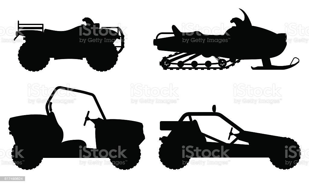 set icons atv automobile off roads black outline silhouette vect vector art illustration
