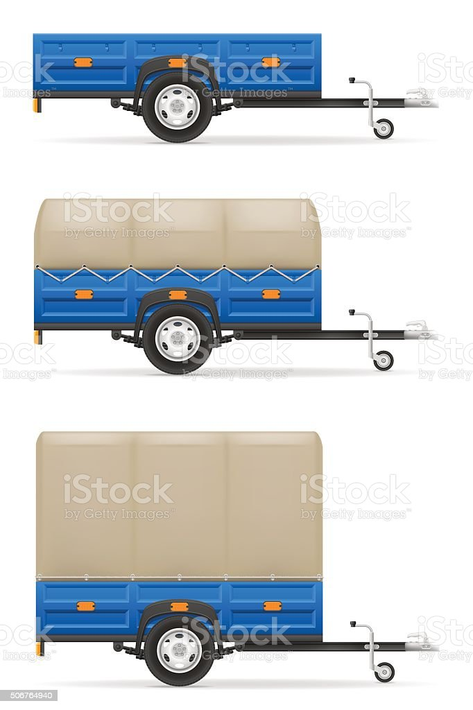 set icons car trailer for the transportation of goods vector vector art illustration