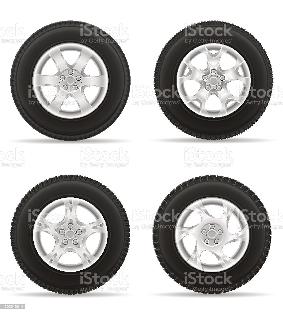set icons car wheel tire from the disk vector illustration vector art illustration