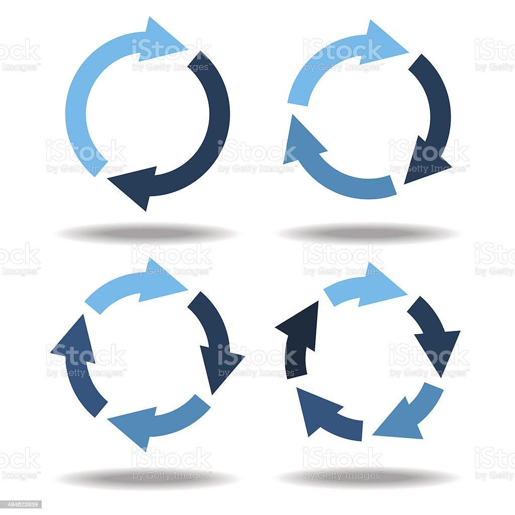 Set icons circle arrows. Circular diagram vector art illustration