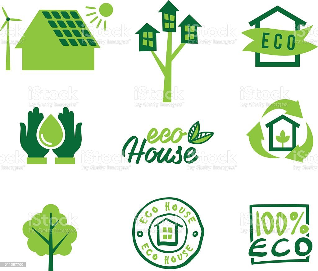 Set icons eco home, saving energy and water, garbage recycling vector art illustration