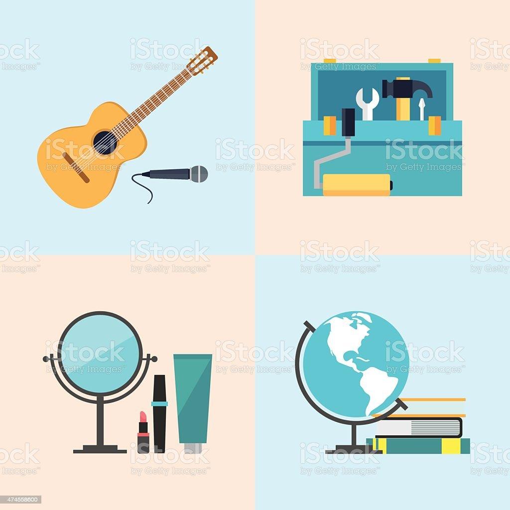 Ensemble d'icônes plat design, de la beauté, de la boîte à outils, études, de la musique stock vecteur libres de droits libre de droits