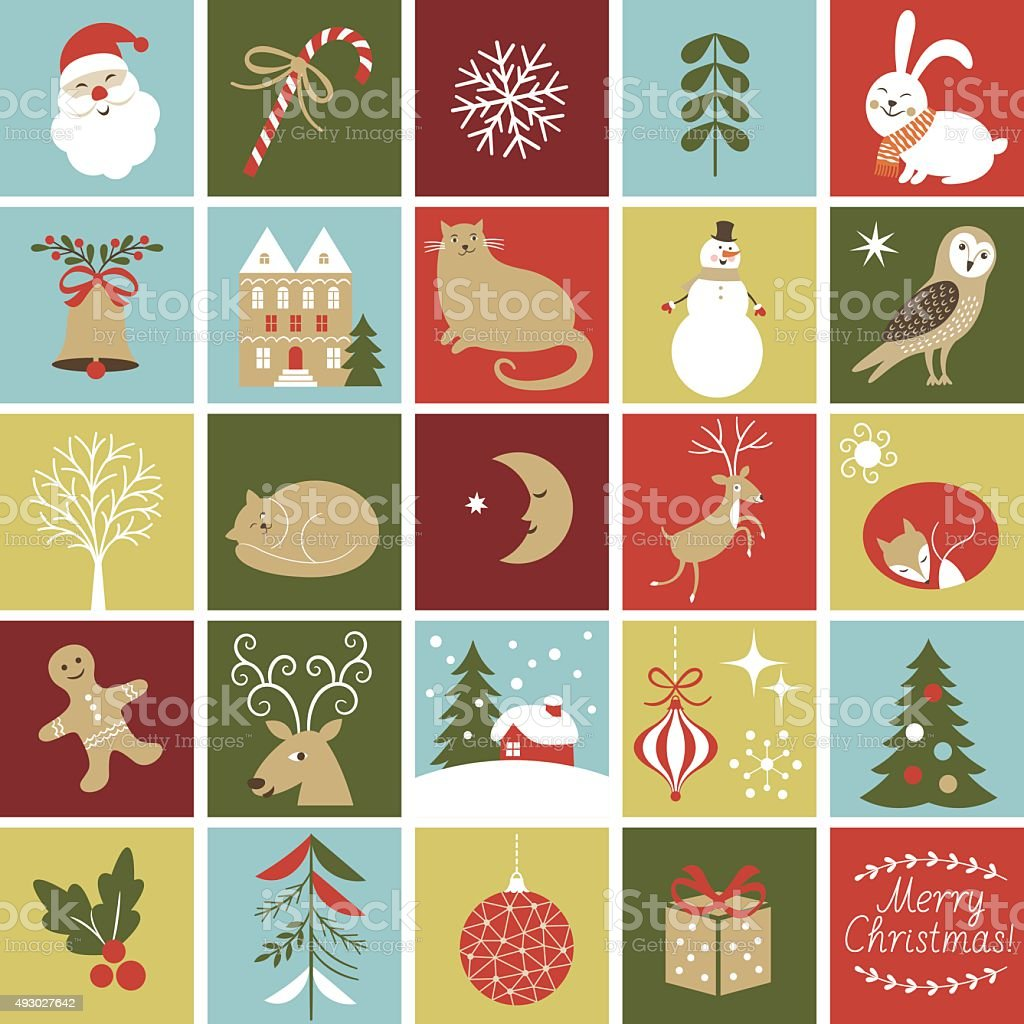 Set Icons for create Advent Calendar vector art illustration
