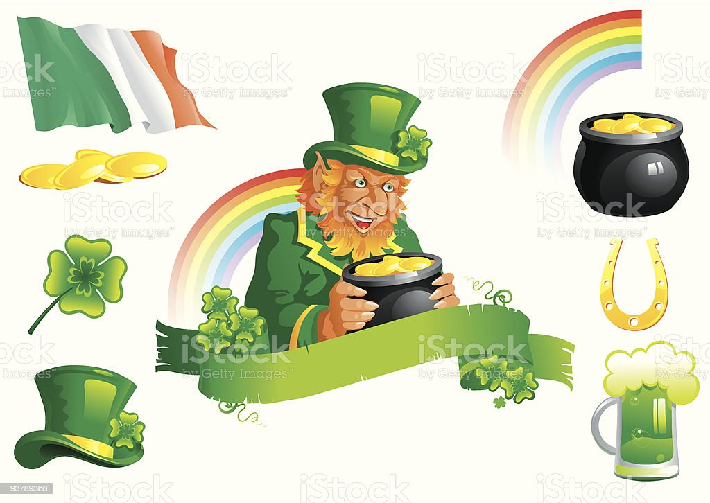 set icons for St. Patrick's Day royalty-free stock vector art