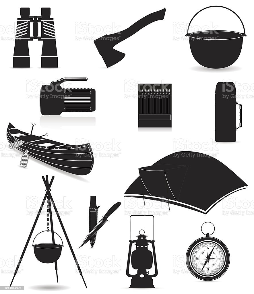 set icons items for outdoor recreation black silhouette vector illustration royalty-free stock vector art