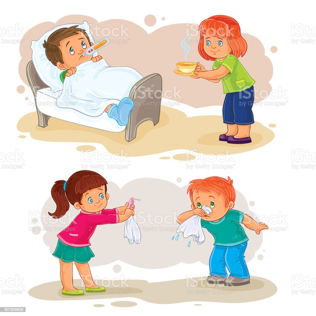 Set icons little boy sick and compassionate girl vector art illustration