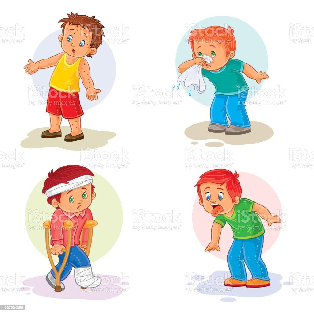 Set icons little boy sick vector art illustration
