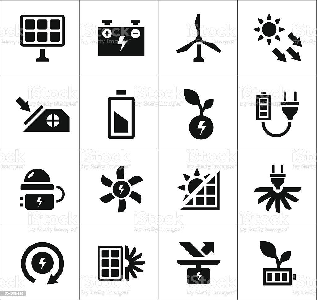 Set icons of alternative energy sources vector art illustration