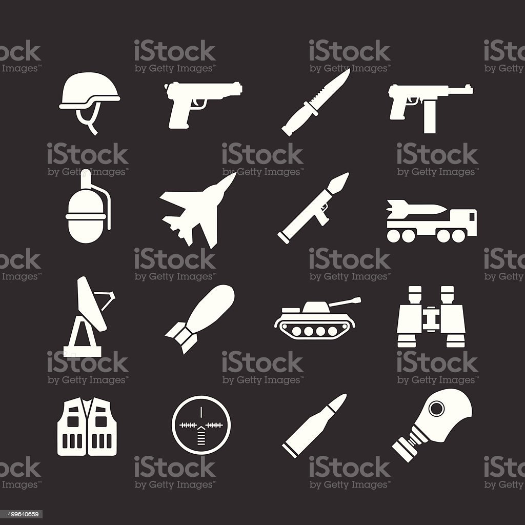 Set icons of army and military vector art illustration