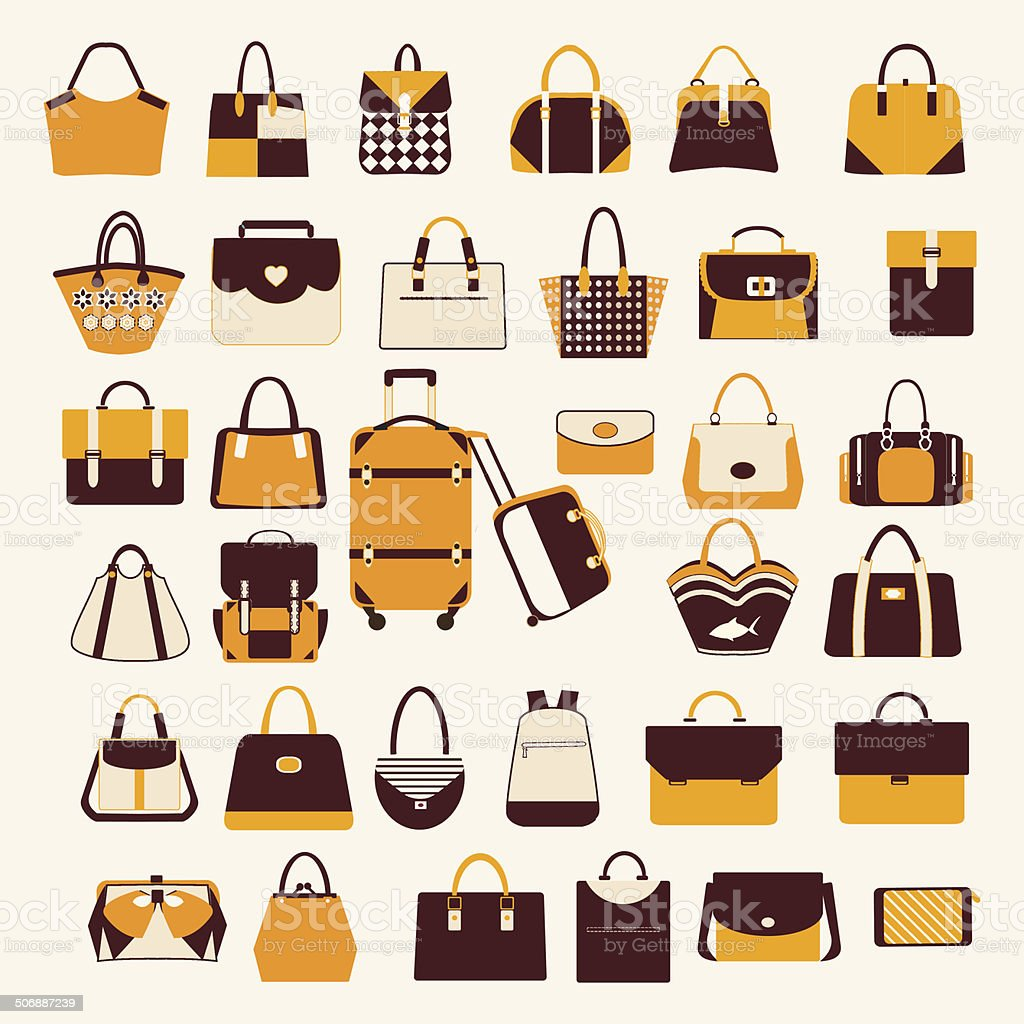 Set icons of  bags  and  handbags - Illustration vector art illustration
