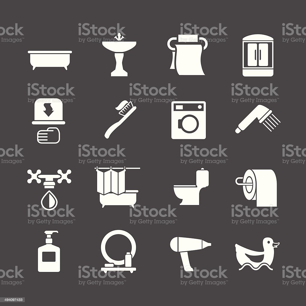 Set icons of bathroom and toilet vector art illustration