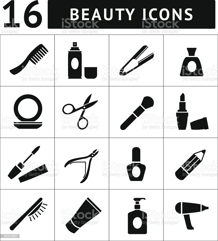 Set icons of beauty and cosmetics vector art illustration