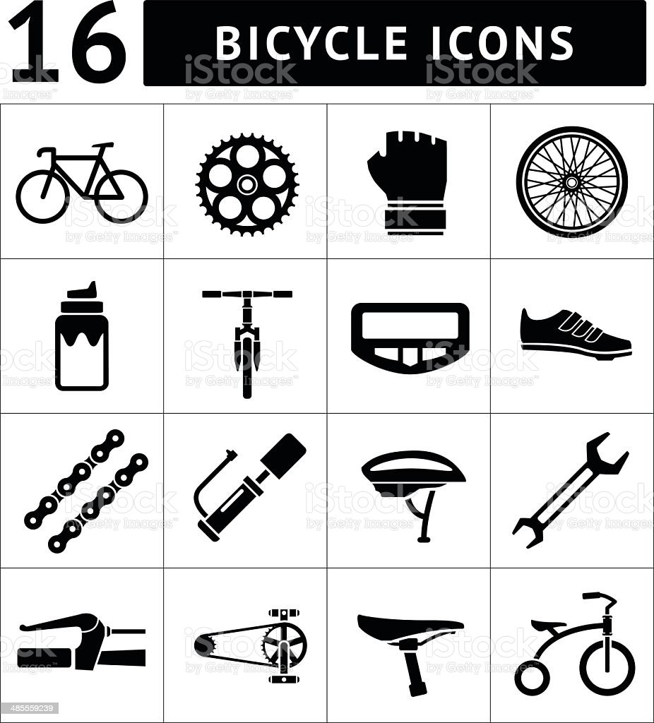Set icons of bicycle, biking, bike parts and equipment vector art illustration