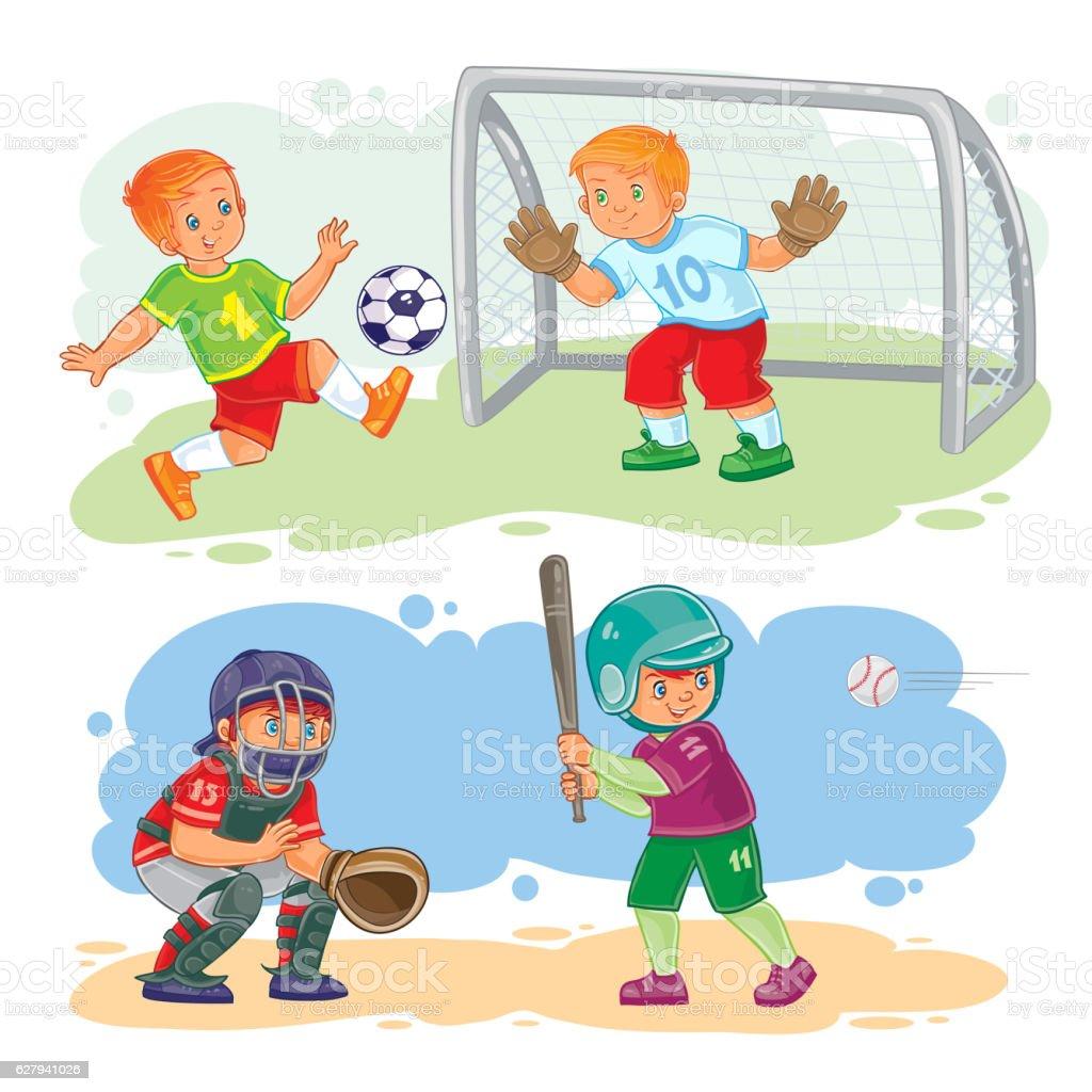 Set icons of boys playing football and baseball vector art illustration