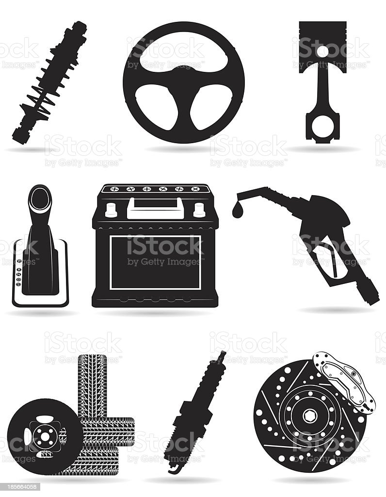set icons of car parts black silhouette vector illustration royalty-free stock vector art