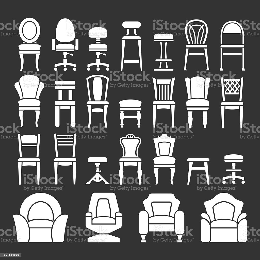 Set icons of chairs vector art illustration
