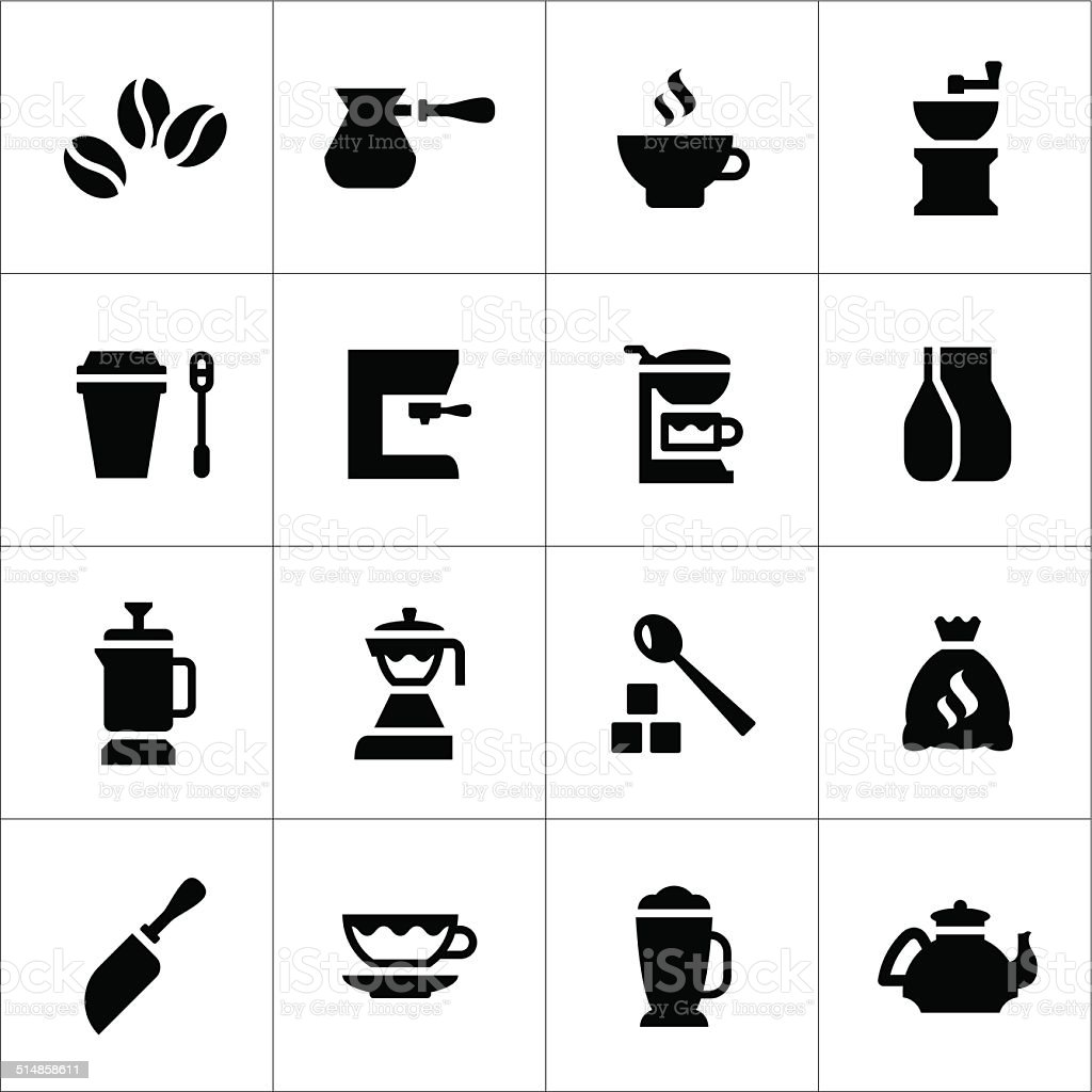 Set icons of coffee vector art illustration