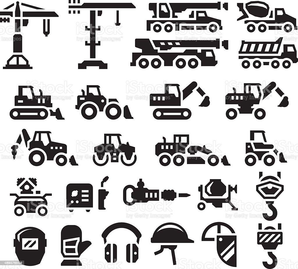 Set icons of construction equipment vector art illustration