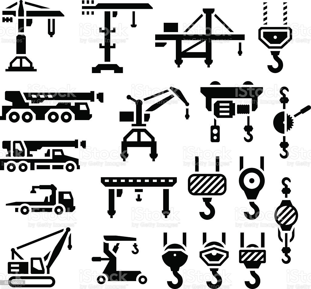 Set icons of crane, lifts, winches and hooks vector art illustration