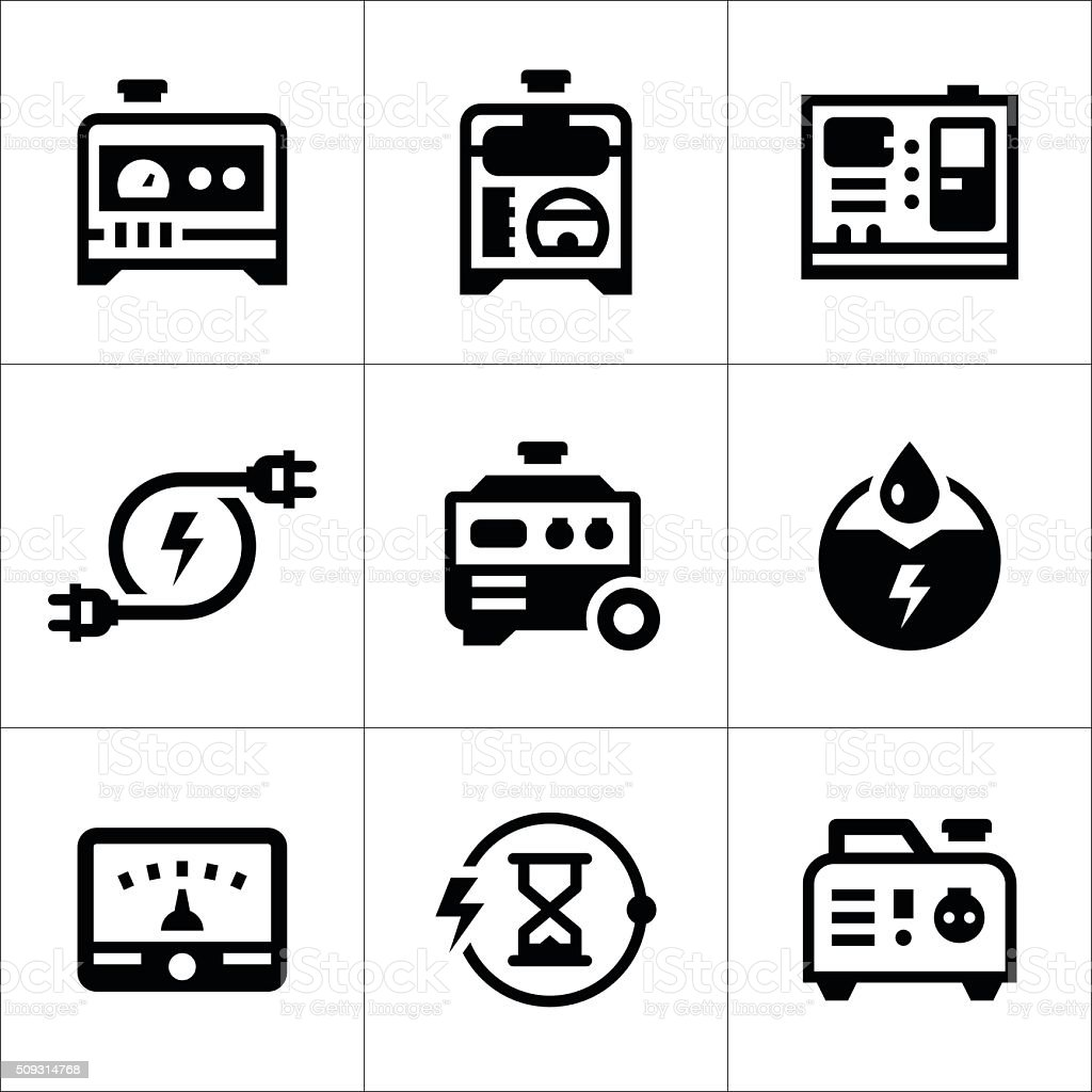 Set icons of electrical generator vector art illustration