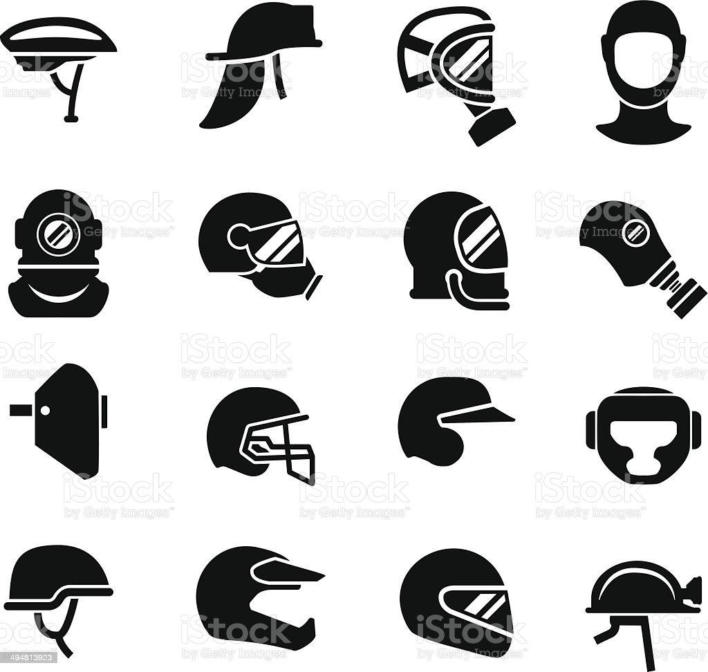 Set icons of helmets and masks vector art illustration
