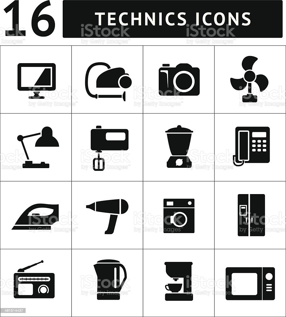 Set icons of home technics and appliances vector art illustration
