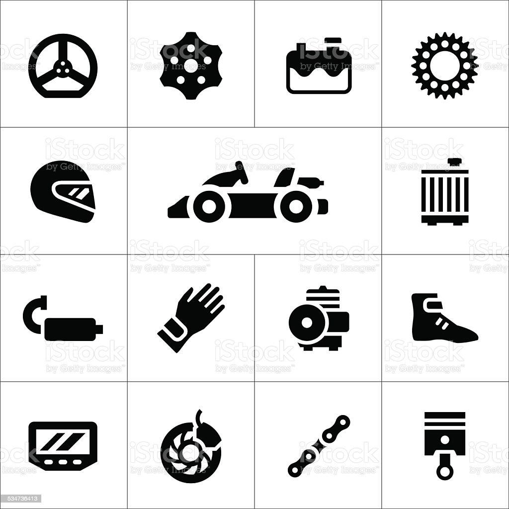 Set icons of karting vector art illustration