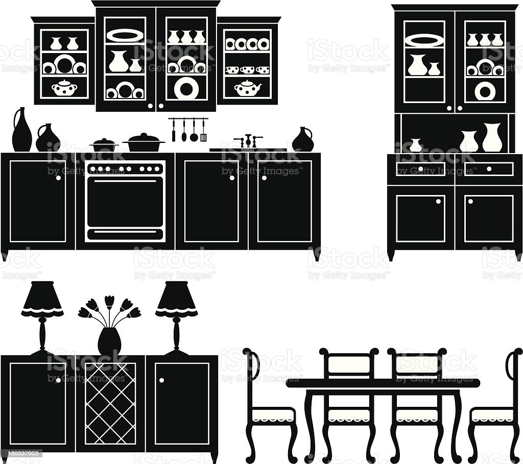 Set icons of kitchen furniture stock vector art 160337003 for Kitchen set vector