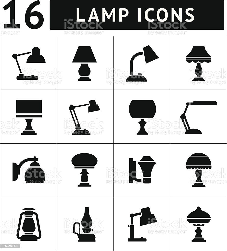 Set icons of lamps vector art illustration