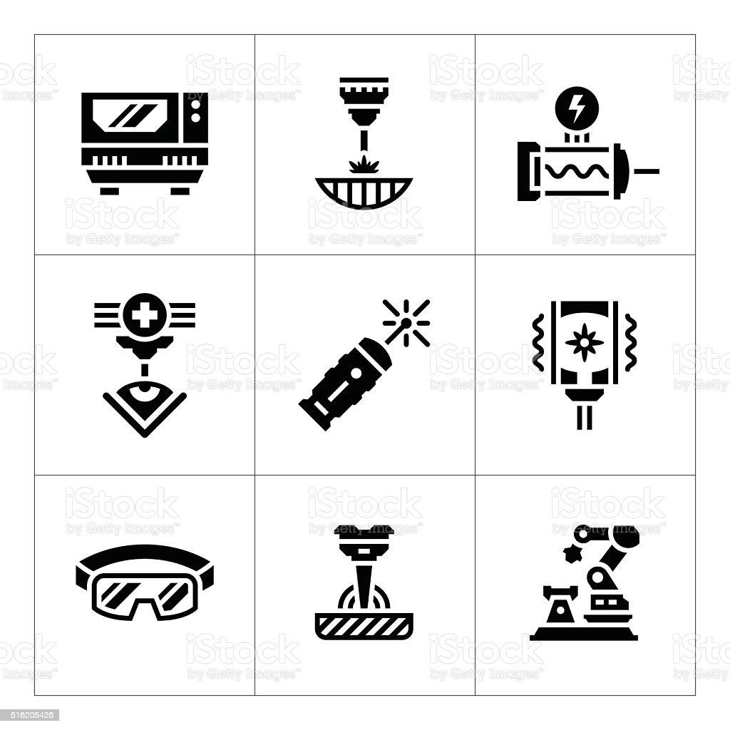 Set icons of laser vector art illustration
