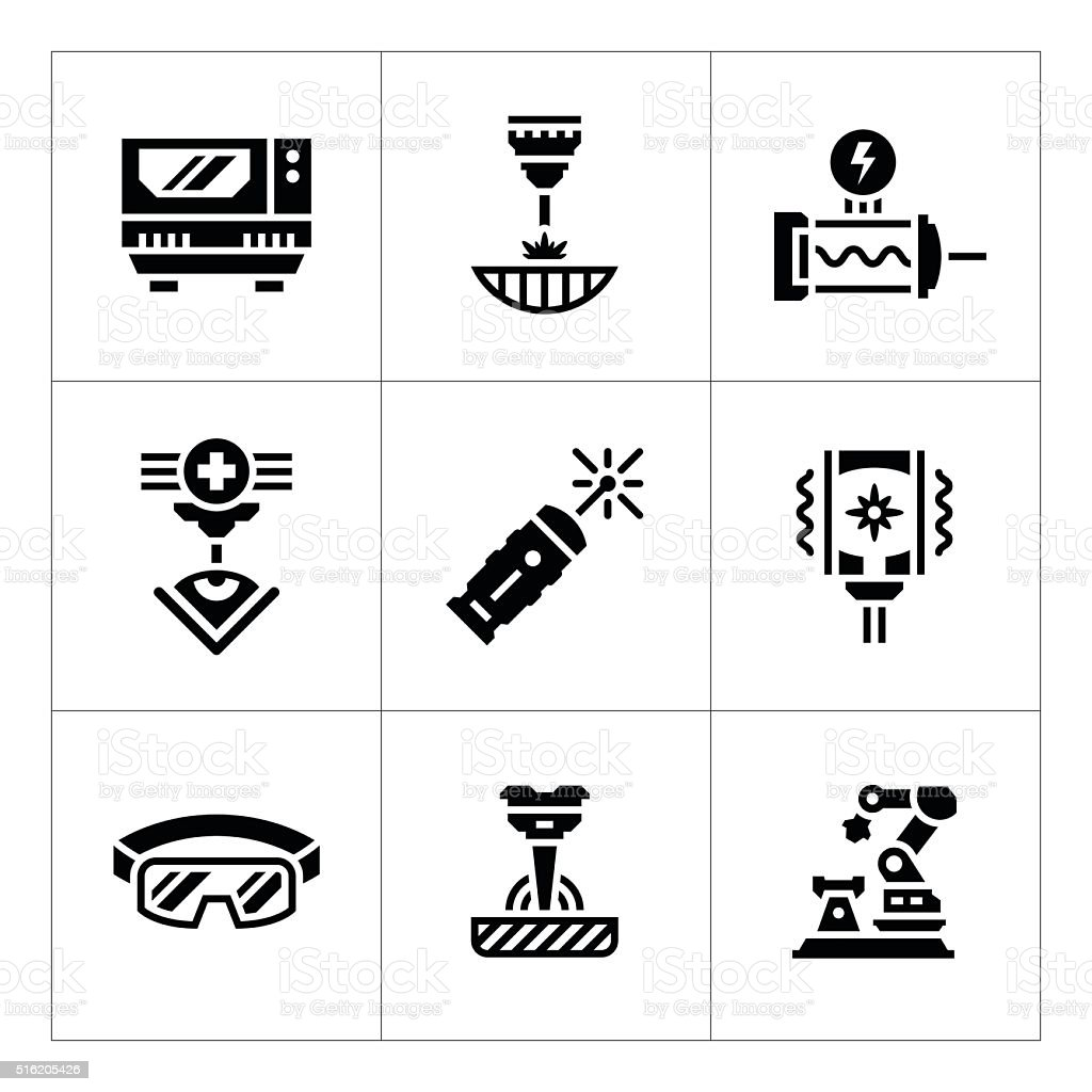 Set icons of laser vector art illustration