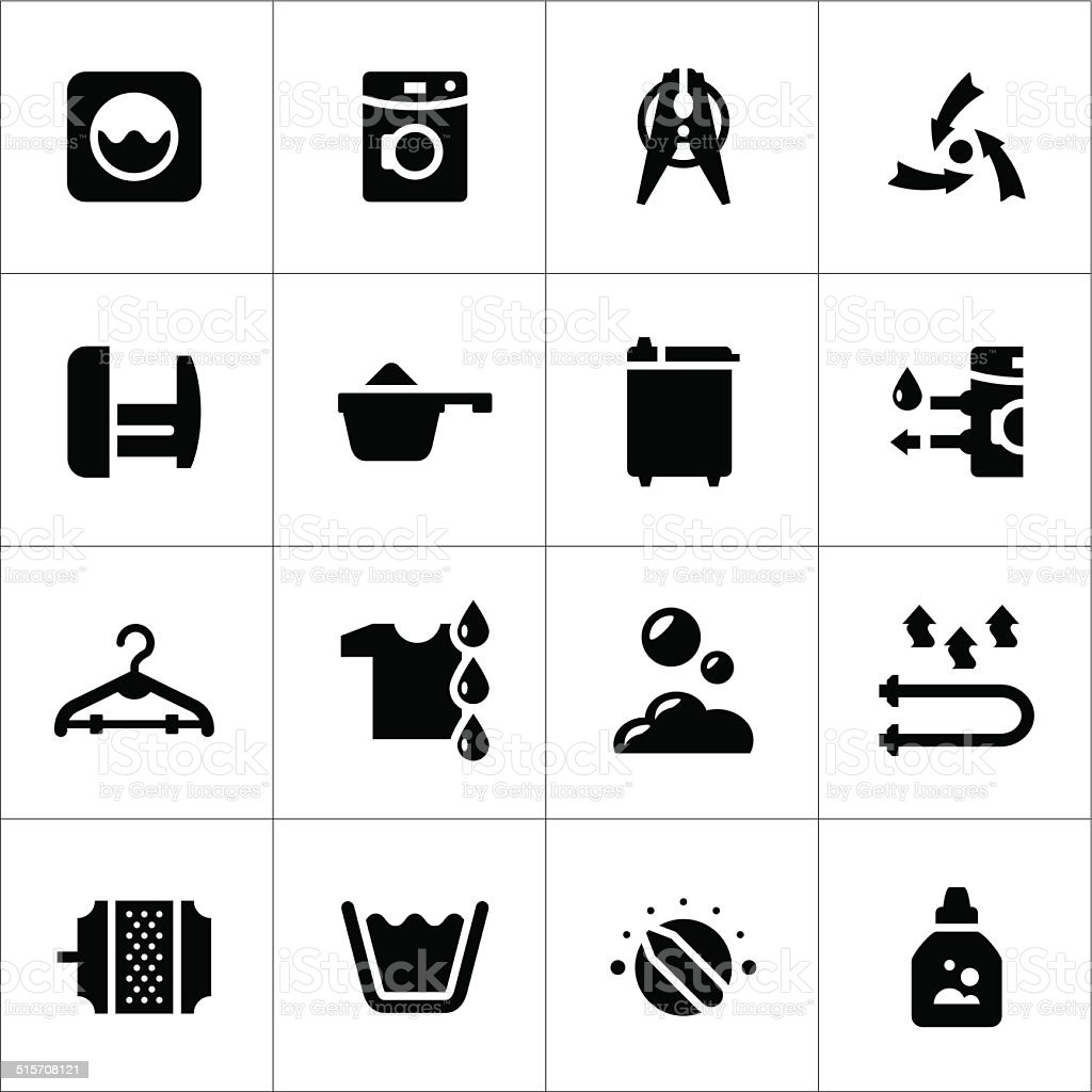 Set icons of laundry vector art illustration