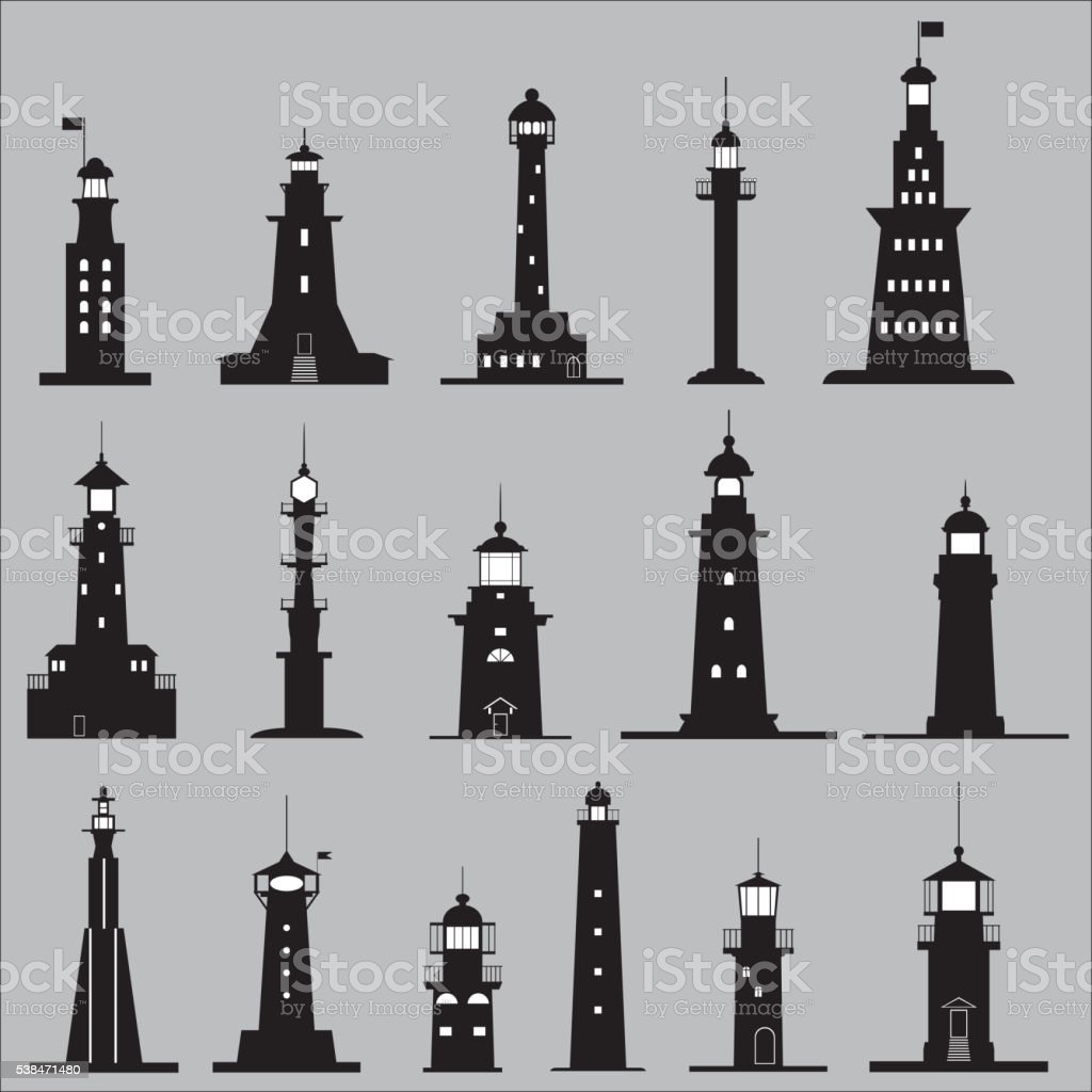 Set Icons of Lighthouses vector art illustration