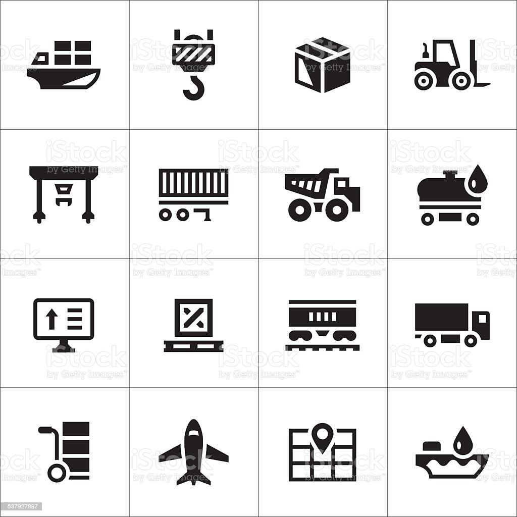 Set icons of logistic vector art illustration