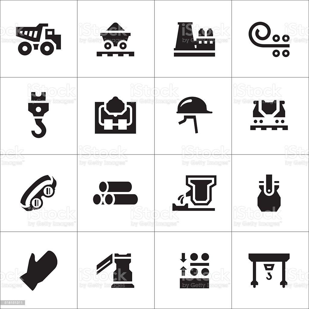Set icons of metallurgy vector art illustration