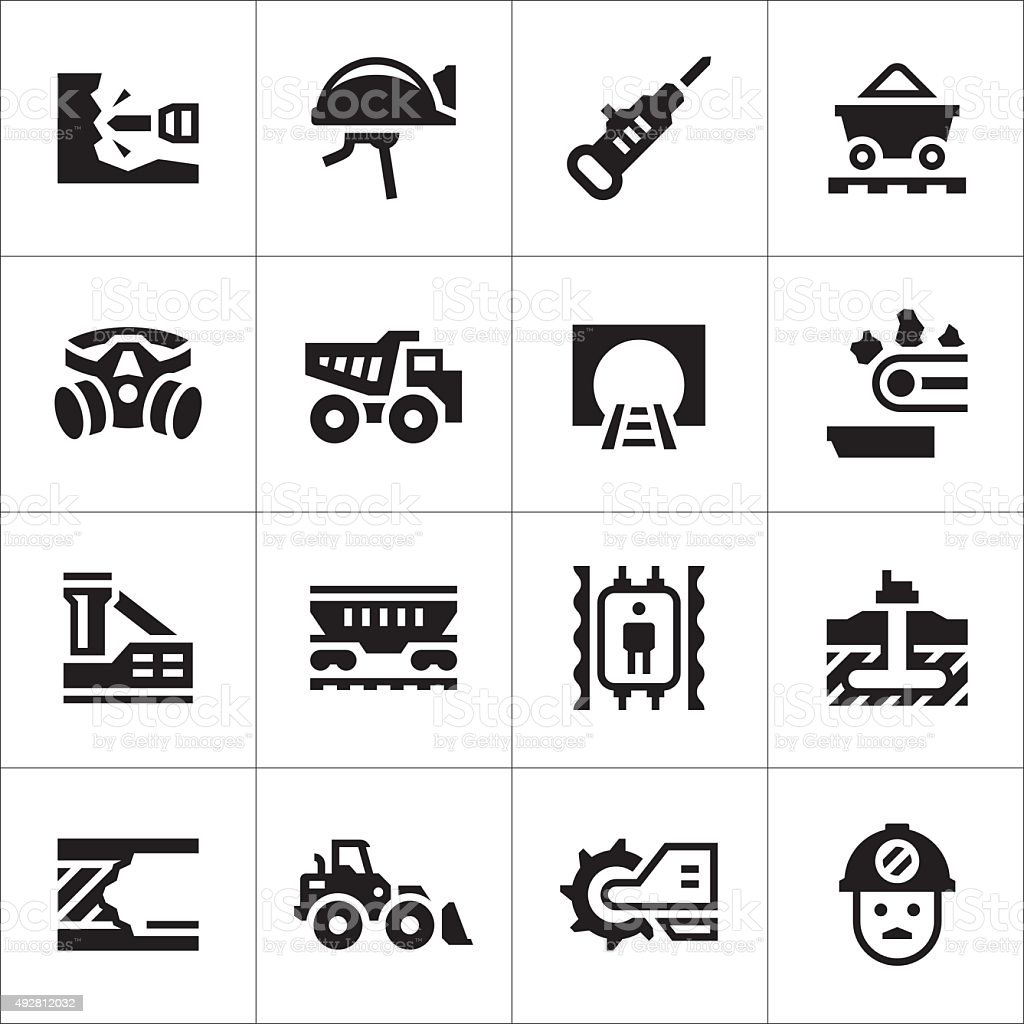Set icons of mining vector art illustration