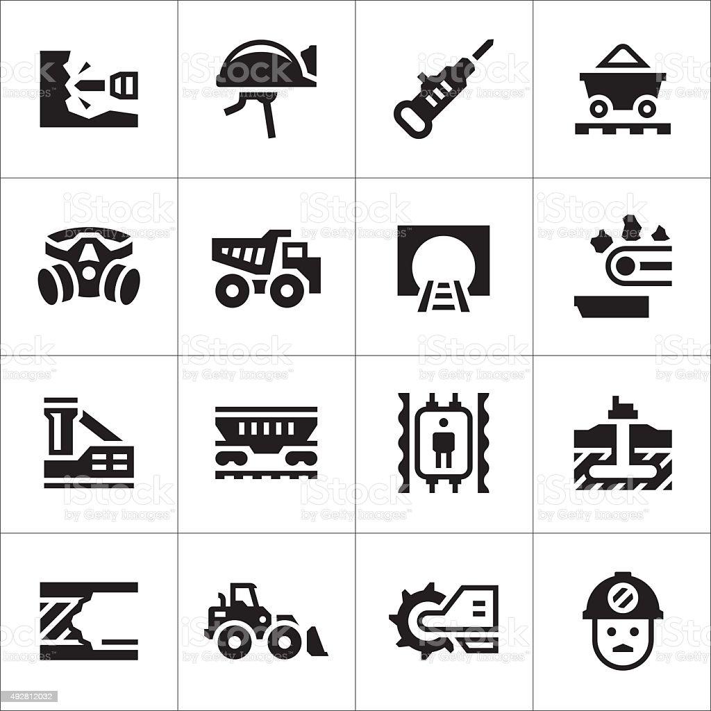 Set icons of mining vector art illustration