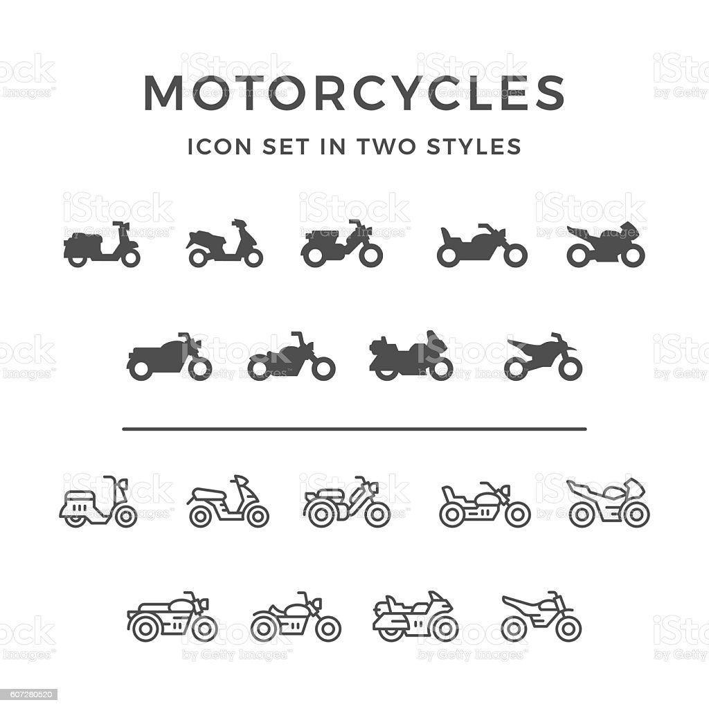 Set icons of motorcycle vector art illustration
