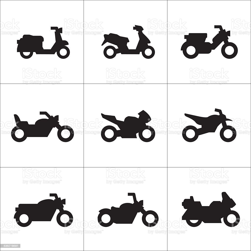 Set icons of motorcycles vector art illustration