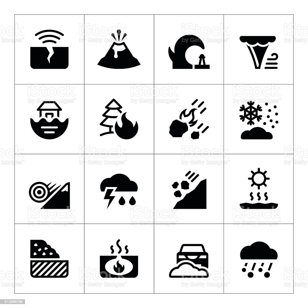 Set icons of natural disaster vector art illustration
