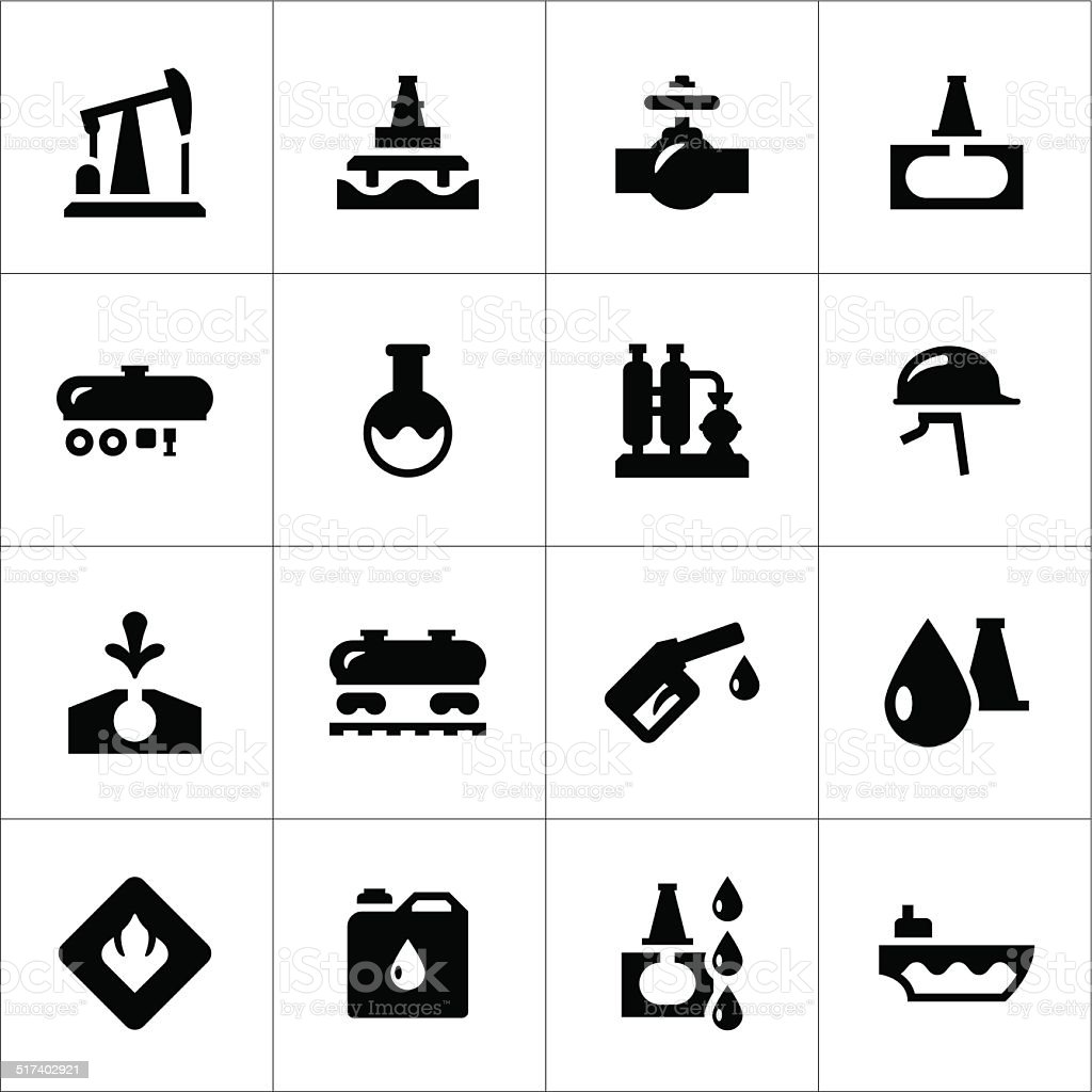 Set icons of oil industry vector art illustration