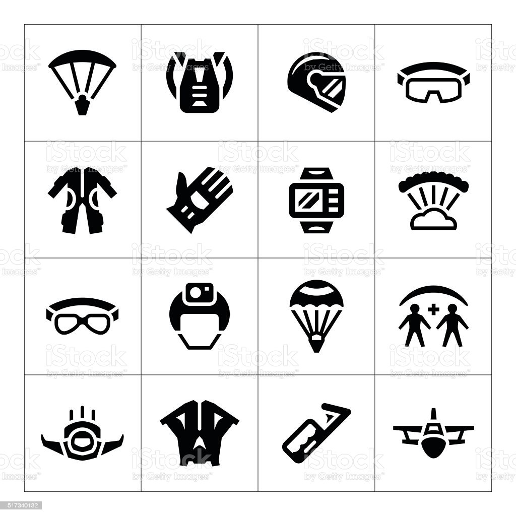 Set icons of parachute vector art illustration