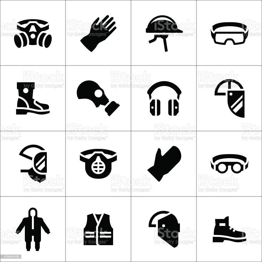 Set icons of personal protective equipment vector art illustration